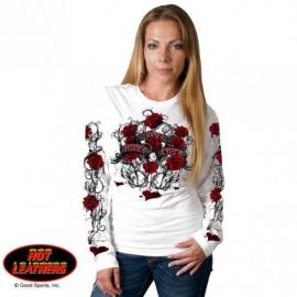Dámské tričko Hot Leathers Thorns, dlouhý rukáv bílé - L
