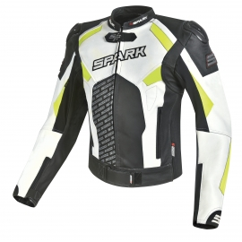 Pánská kožená moto bunda Spark ProComp, bílá