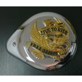 Highway Hawk Kryt vzduchového filtru LIVE TO RIDE, chrom/zlatá