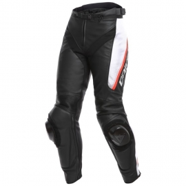 Dámské kožené moto kalhoty Dainese DELTA 3 LADY černá/bílá/červená