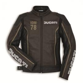 Kožená bunda Ducati IOM 78 C1 černo-hnědá