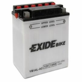 Baterie EXIDE EB14L-A2, 12V 14Ah, za sucha nabitá s antisulfační úpravou. Náplň součástí balení.