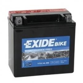 Bezúdržbová AGM baterie EXIDE YTX14L-BS, 12V 12Ah, za sucha nabitá. Náplň součástí balení.