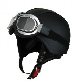 Moto prilba Cyber U-62g kožená s okuliarmi, čierna