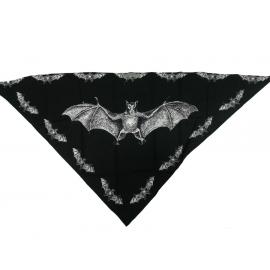 Třícípý šátek motiv Netopýr, černý