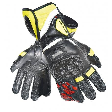 Pánske kožené moto rukavice Spark Pilot, čierne