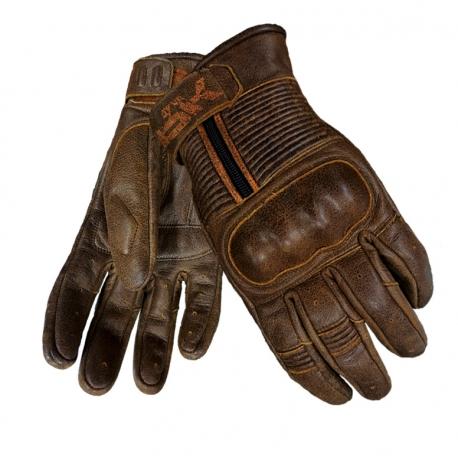 Pánske kožené moto rukavice Spark Crisp, hnedé