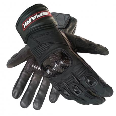 Pánské kožené moto rukavice Spark Short, černé