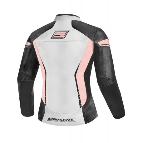 Dámská kožená moto bunda Spark Lina Pink - M